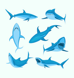 cartoon blue characters shark sign icon set vector image