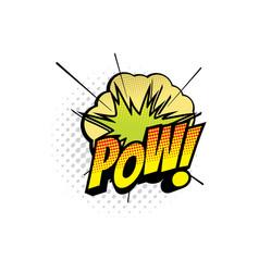 Cartoon comic book sound cloud pow blast vector