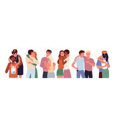 Cartoon happy people friends hug diverse woman vector