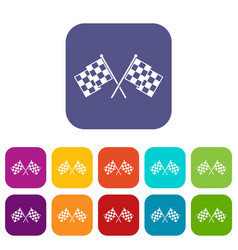 checkered racing flags icons set vector image