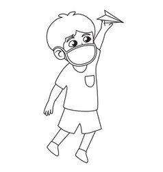children boy play and throwing paper plane in the vector image