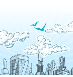 City sky vector image