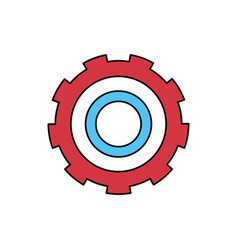 Color sectors silhouette of gear of wheel vector