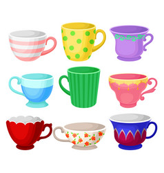 colorful cup set different tea or coffee cups vector image