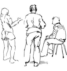 Contour doodle drawings seated and standing vector
