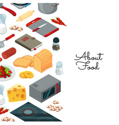 cooking food isometric background vector image