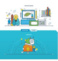 Creativity innovation and creative design vector