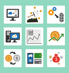 cryptocurrency cloud mining icons set vector image