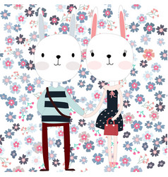 cute rabbit couple on the flower background vector image