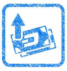 dash banknotes cashout framed stamp vector image