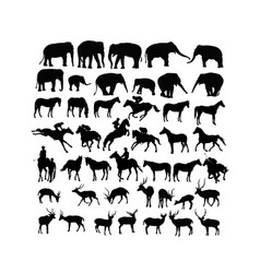 deer horse and elephant silhouettes vector image