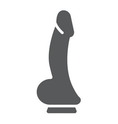 Dildo glyph icon sex toy and adult penis sign vector