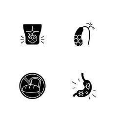 Discomfort in abdomen black glyph icons set vector