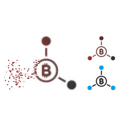 Dispersed pixel halftone bitcoin connections icon vector