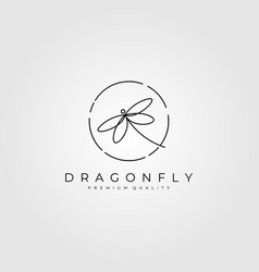 dragonflies logo outline design vector image