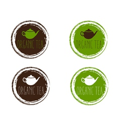 emblems of organic teapot vector image