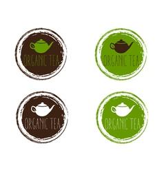 Emblems organic teapot vector