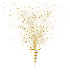 Explosion party popper with gold confetti vector