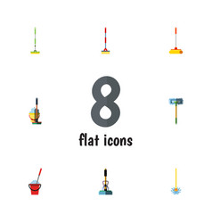 Flat icon broomstick set of equipment bucket mop vector