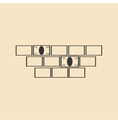 Flat in black white bricks and money vector