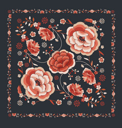 Floral background inspired embroidered fabrics vector