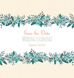 Forget-me-not blue flowers hand drawn bouquets vector