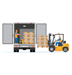 Forklift loading pallet boxes into lorry truck vector