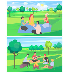 friends on summer vacation spending time together vector image