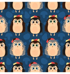 funny cartoon seamless pattern of hedgehogs vector image