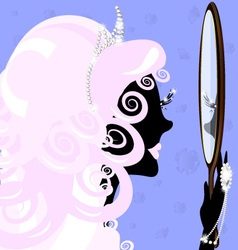 girl and mirror vector image