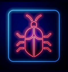 Glowing neon system bug concept icon isolated on vector