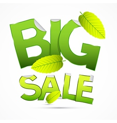 Green Big Sale Sticker - Label with Leaves on vector image