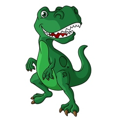 Green cartoon dinosaur vector image