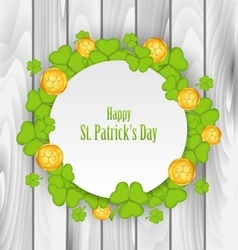 Greeting Card with Clovers and Golden Coins for St vector image