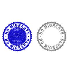 Grunge no migrants textured watermarks vector