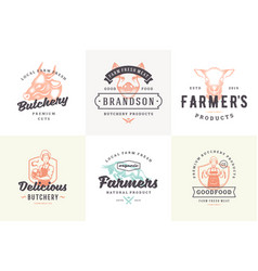 hand drawn logos and labels farm animals with vector image