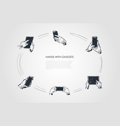 hands with gadgets - human holding vector image