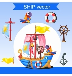Historic ship rudder mast and two parrots vector