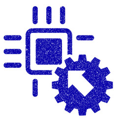 Hitech processor and gear integration icon grunge vector