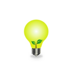 Incandescent lamp with baby seedling vector image