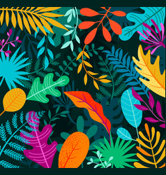 Jungle background with tropical palm leaves vector