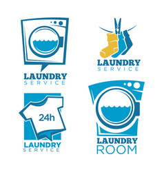 Laundry icons templates set of linen vector