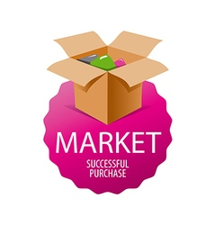 Logo box with goods for shopping vector