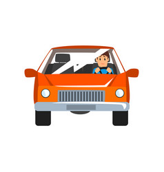 Man driving red car front view vector
