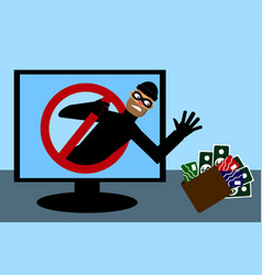 masked man theif want take money and credit card vector image
