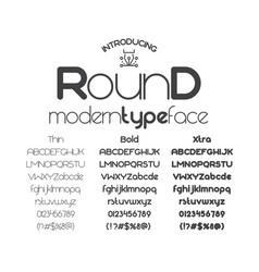 Modern minimalistic sans serif font round vector