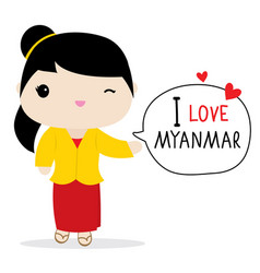 myanmar women national dress cartoon vector image