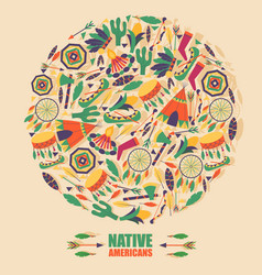 native american culture icons in round frame vector image