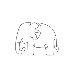 one single line drawing big cute elephant vector image
