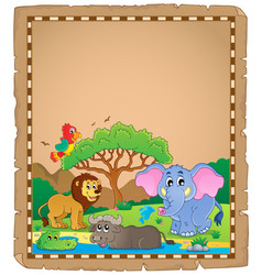 Parchment with african animals 2 vector